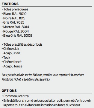 Finitions et options de la Protecdoor